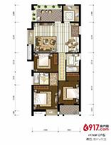 3房2厅2卫116平--户型图