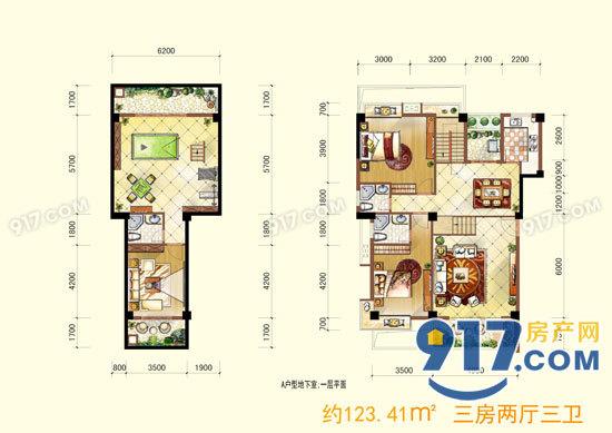 地下室、一层平面图 约123.41平米 三房两厅三卫