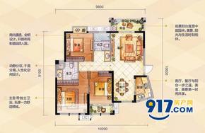 E户型 阔景三房——109㎡ 三房两厅两卫--户型图