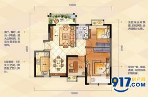B户型灵动三房——88㎡三房两厅一卫--户型图